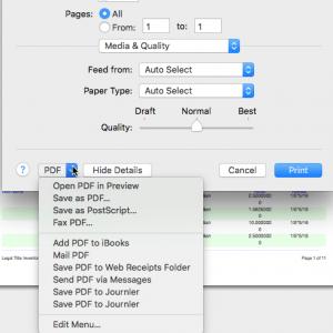MacOS PDF options